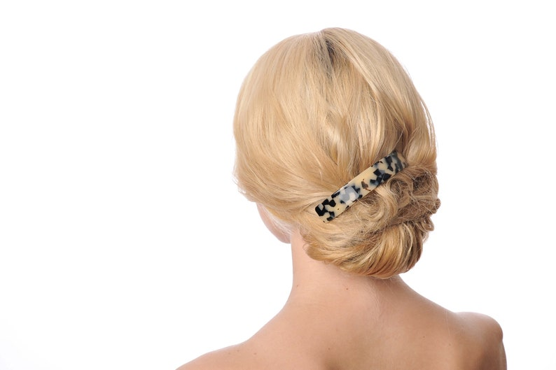 Top Quality Very large Fancy Leopard barrette Curved Rectangle Cellulose Acetate Charming French Barrette Rectangular shape hair barrette
