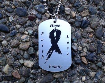 hope faith love family laser cut chrome and black acrylic necklace.