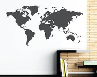 Vinyl wall sticker. decal. sticker • world map.card