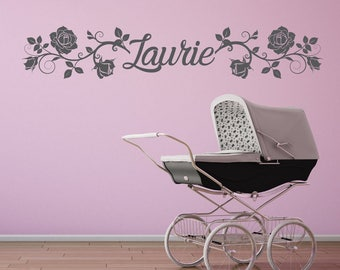 Wall sticker | Flowers with custom name