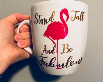 Sticker for Cup.beer glass. Stand taller and be fabulous. Pink Flamingo. customizable text
