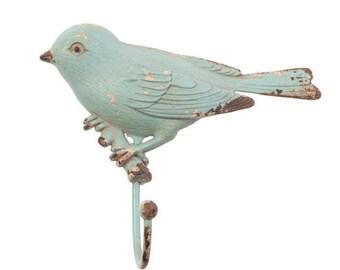 Vintage, Blue, Distressed Pewter Bird Door Hook ~ Antique Style