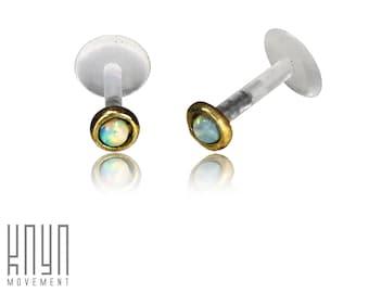 Ruifan 9PCS 16G 2mm 3mm 4mm Clear Cubic Zirconia Labret Monroe Lip Ring Tragus Helix Earring Stud Barbell Piercing Jewelry Bar Length 6-10mm