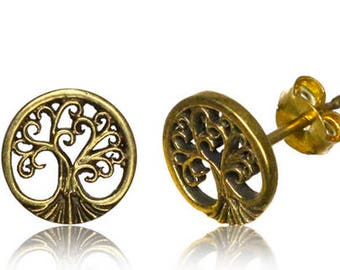 Tiny Tree Of Life Stud - Nature Stud Earrings - Stud earrings - Sustainable Jewelry - Spiritual Earrings - Gold Stud Earrings