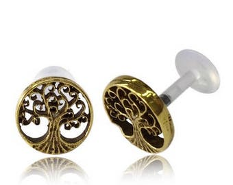 Tree of life - Flat back cartilage earring - Lip stud - Gold tragus earring - Labret jewelry - Conch piercing - Tragus Piercing - Medusa