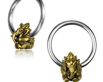 Ganesh hoops septum piercing earring elephant