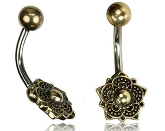 Belly Button Jewelry - Gold Navel Ring - Mandala - Tribal Jewelry - Belly Button Rings - Stomach piercing - Lotus flower - 14g