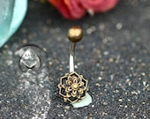 PADMA - Navel piercing in the shape of a Lotus Flower Mandala