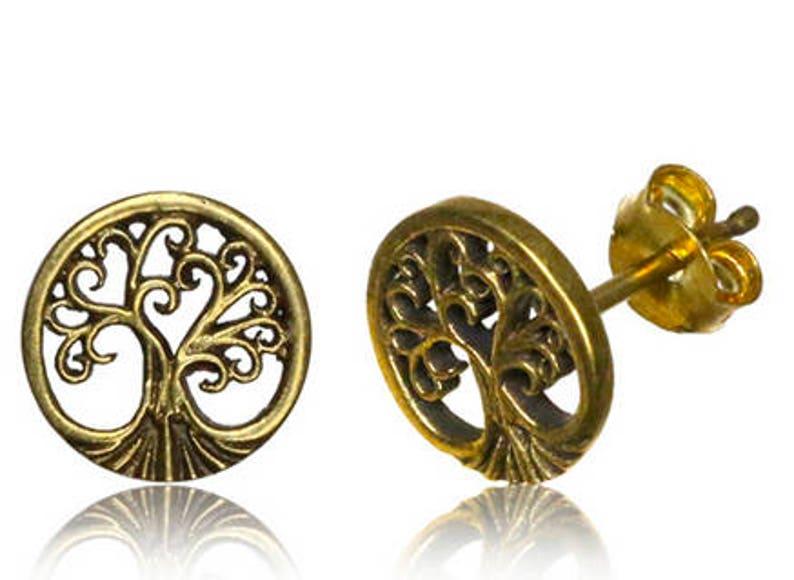 Tiny Tree Of Life Stud  Nature Stud Earrings  Stud earrings image 1