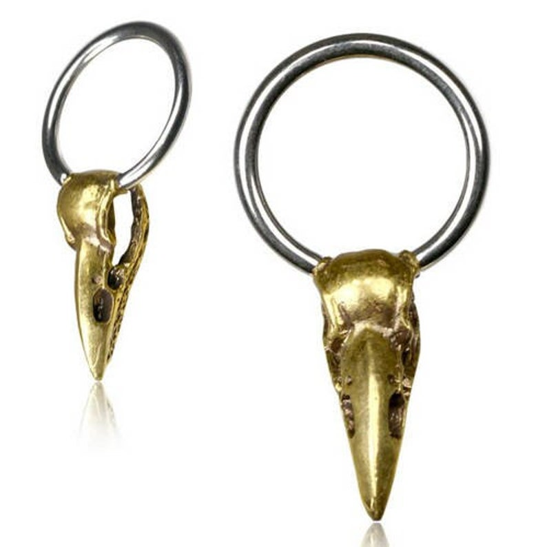 Crow earrings  Raven Skull  Hoop earrings with charm  Goth image 0