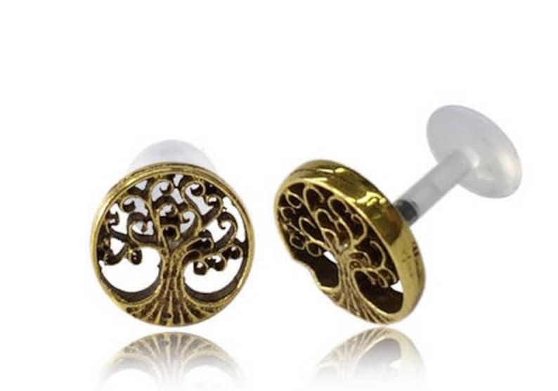 Tree of life  Flat back cartilage earring  Lip stud  Gold image 1