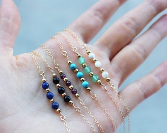 Gemstone Necklaces, 14k Gold Filled, Bead Bar Necklace, Delicate Necklace, Birthstone, Layering Necklace, Dainty Gold Necklace