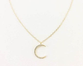 Crescent Moon Necklace, Gold Moon Necklace, Jewelry, Dainty Moon charm, CZ, Moon charm necklace