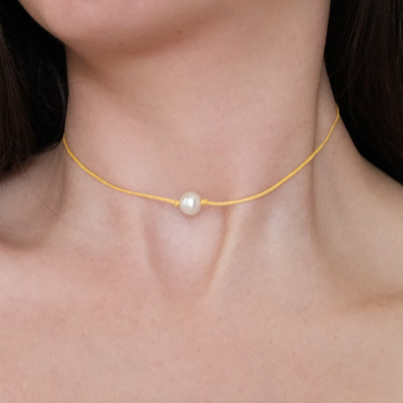 Cotton Cord Choker Turquoise Cord Pearl Choker Gift for Her White Pearl Choker Birthday Gift