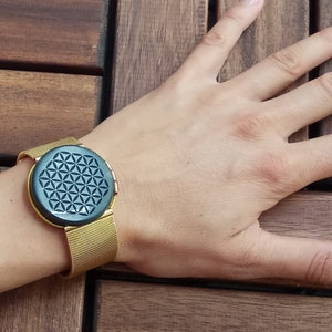 modern minimalistic accessory women/'s SHUNGITE bracelet flower of Life round stone D34 mm stainless steel watchband /'SILVER/' color