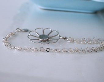 Sterling silver large domed open flower necklace