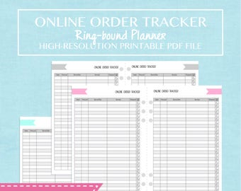 A5 Half-Letter Size Online Order Tracker Printable Planner Insert - Happy Mail and Shopping - 10 Pages - Shabby Chic Cover Design - ENGLISH