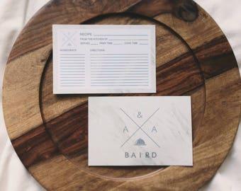 Custom Marble Recipe Cards