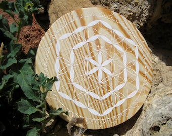 White flower of life, Ø 13 cm symbol of purity, nature, Bohemian, wave shape, geometry, sacred to raise the vibratory rate, energize.