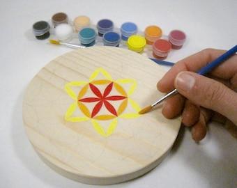 Flower of life wooden paint DIY - sacred geometry