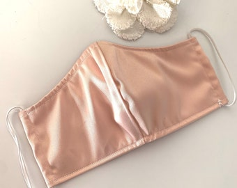 Rose Gold Wedding Face Mask with Nose Wire, Filter Pocket, Adjustable Elastic Options Pink Bridesmaid Mask
