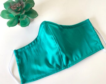 Jewel Tone Face Mask, Jade Green Bridal Party Bridesmaid Mask with Filter Pocket, Nose Wire and Adjustable Elastic Option