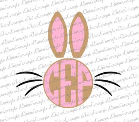 Download Easter Bunny Circle Monogram Digital Design SVG Jpg PNG | Etsy