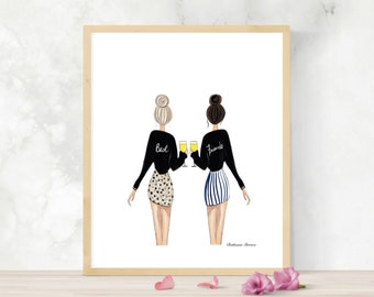Best Friends With Wine Friend Gift For Galentines Day Fashion Illustration Blonde And Brunette