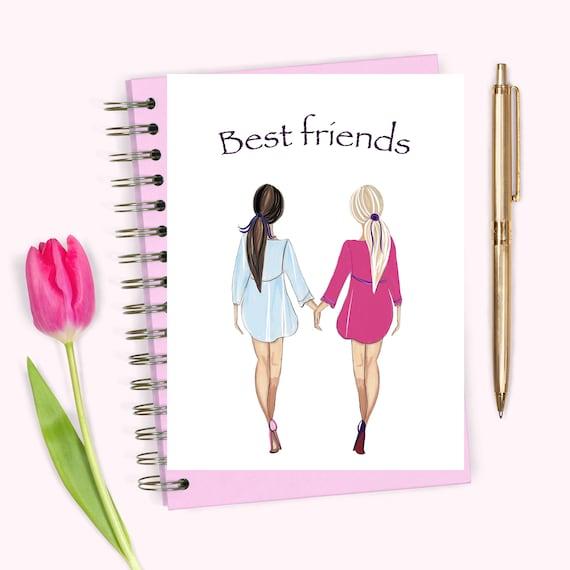 Meilleurs Amis Dessin Filles Blondes Et Brunes Cadeau Etsy