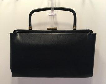Garay Purse ~ Navy Faux Leather Handbag ~ Fold Down Handle ~ Clutch ~ Evening Bag ~ Vintage