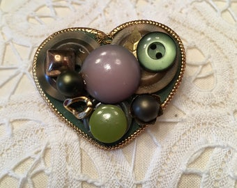 Heart Brooch Pin ~ Buttons ~ Green ~  Shabby Chic ~Vintage