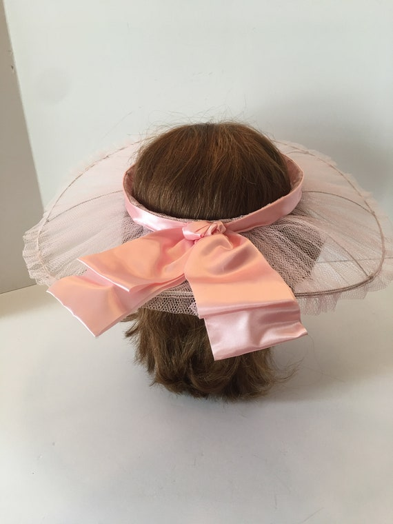 Vintage Open Crown Wide Brim Hat ~ Tulle Ribbon a… - image 2