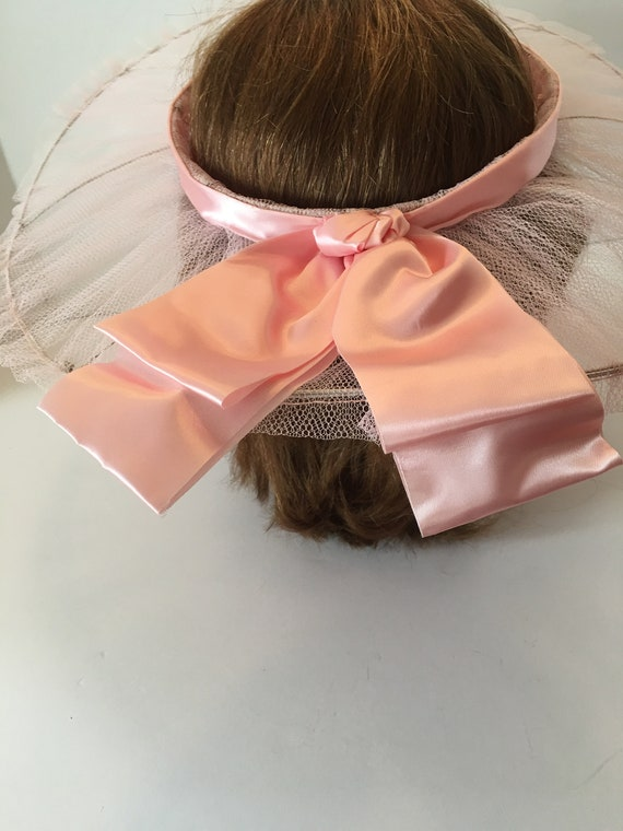 Vintage Open Crown Wide Brim Hat ~ Tulle Ribbon a… - image 5