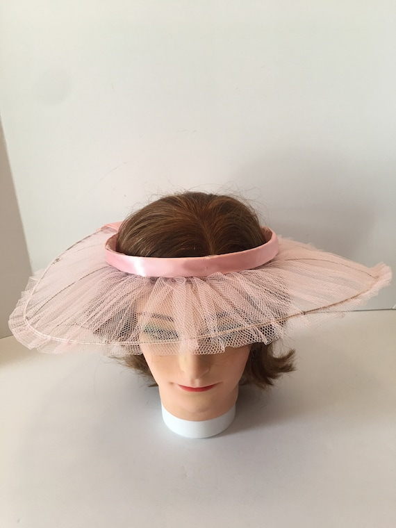 Vintage Open Crown Wide Brim Hat ~ Tulle Ribbon a… - image 4