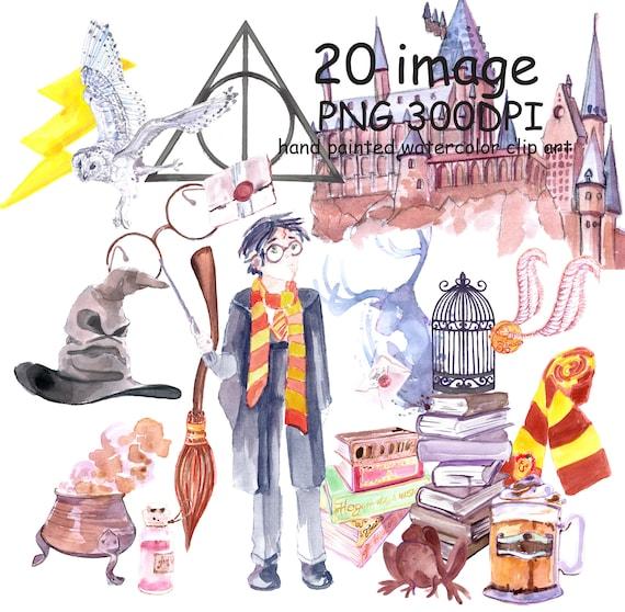 Watercolor Clip Art Harry Potter Set Back To School Wizard