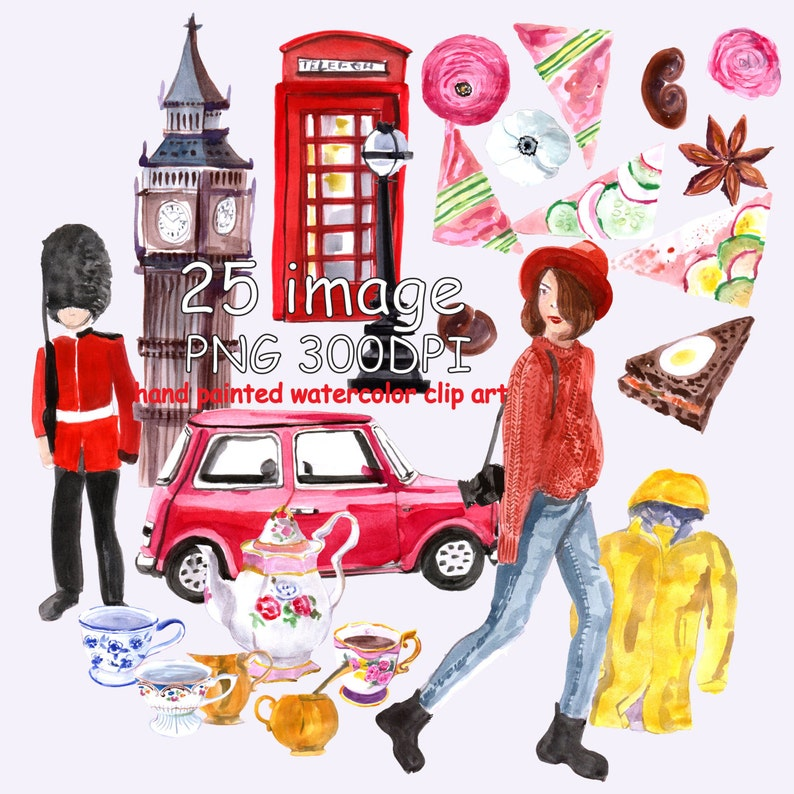 Watercolor Clip Art London Trip, Travel clipart, Travel the world  illustration, Hand painted watercolor clipart, trip,fashion, food
