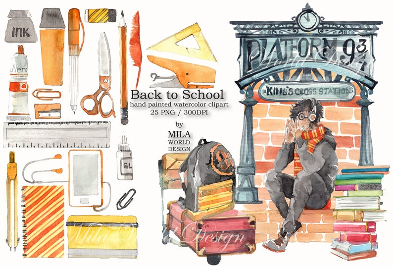 Back to School Watercolor Clip Art Instant Digital Download PNG Sublimation Design High School set