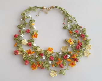 Summer necklace with Oya flowers, leaves, berries, colorful