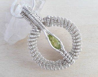 Wire Wrapped Pendant, Peridot Necklace, Wire Wrapped Peridot, August Birthstone, Peridot Necklace, Wire Wrapped Crystal, Peridot Jewelry
