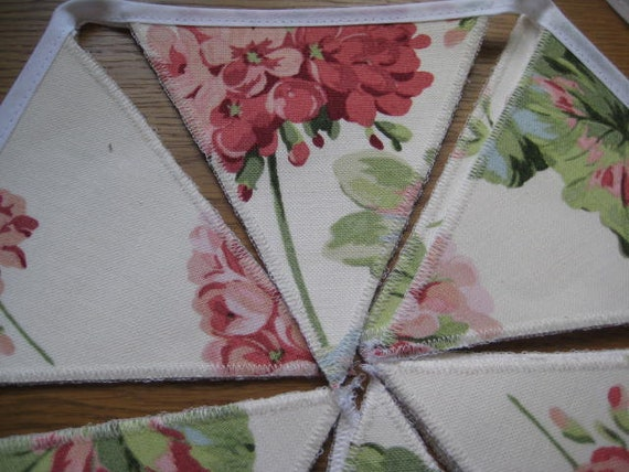 LAURA ASHLEY HANDMADE GERANIUM CRANBERRY BUNTING 10 DOUBLE SIDED FLAGS 2 METRES