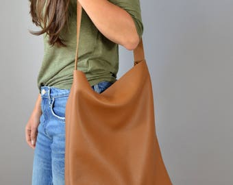 LARGE LEATHER TOTE Bag, Oversize Brown Leather Tote, Cross body Shoulder Tote, 15-inch Laptop Bag, Italian Brown Leather Tote - Dublin -