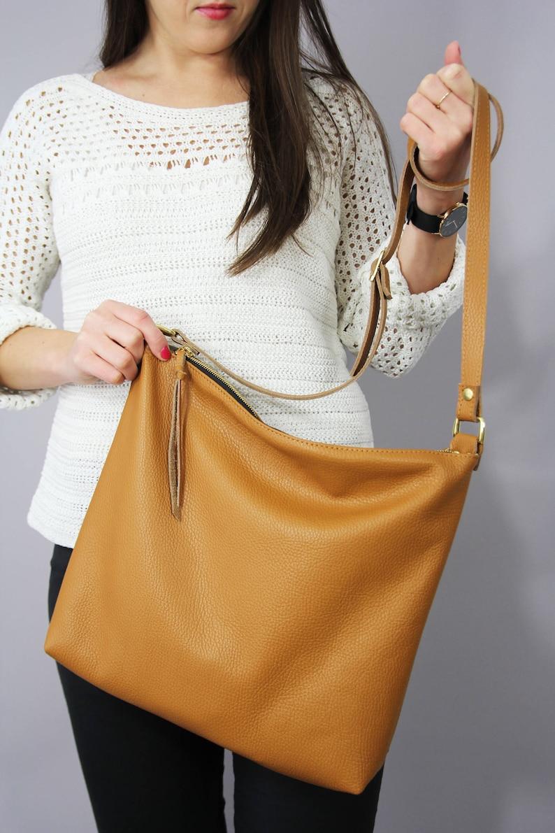 cb61f7fcc6757 Leder HOBOTASCHE Leder-Tasche Damen Handtasche aus Leder