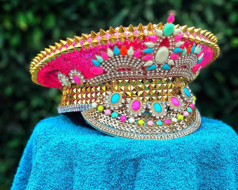 539d24b86 Burning Man Hat- Pink, Captain hat, festival hat, marching band, halloween  costume, rave outfit, neon, iridescent, bedazzled, bespoke, edc