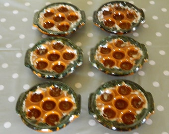 escargot dishes, Escargot dish, French escargot, set of six, dish for snails, French country, french Vintage, French kitchenalia, ceramic,