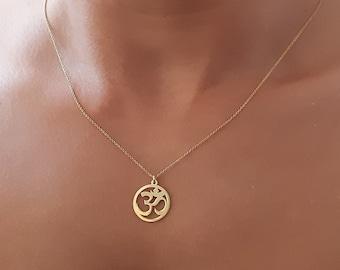 14k gold Om pendant necklace  solid gold om charm  ohm necklace  yoga necklace