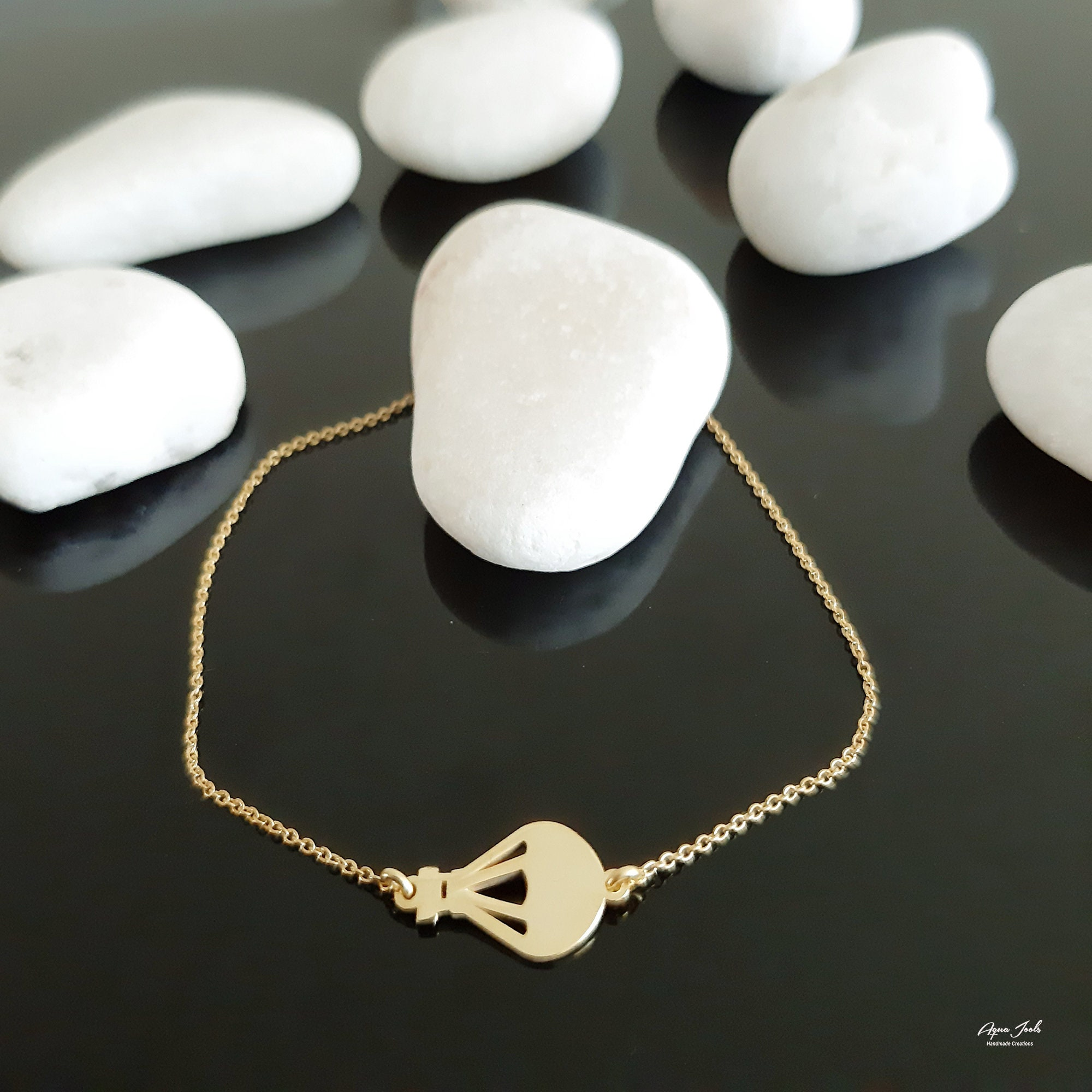 14K Gold Bracelet unique travel Jewelry 14K Solid Gold air balloon Charm Bracelet Dainty Chain Bracelet Geometric air balloon Bracelet