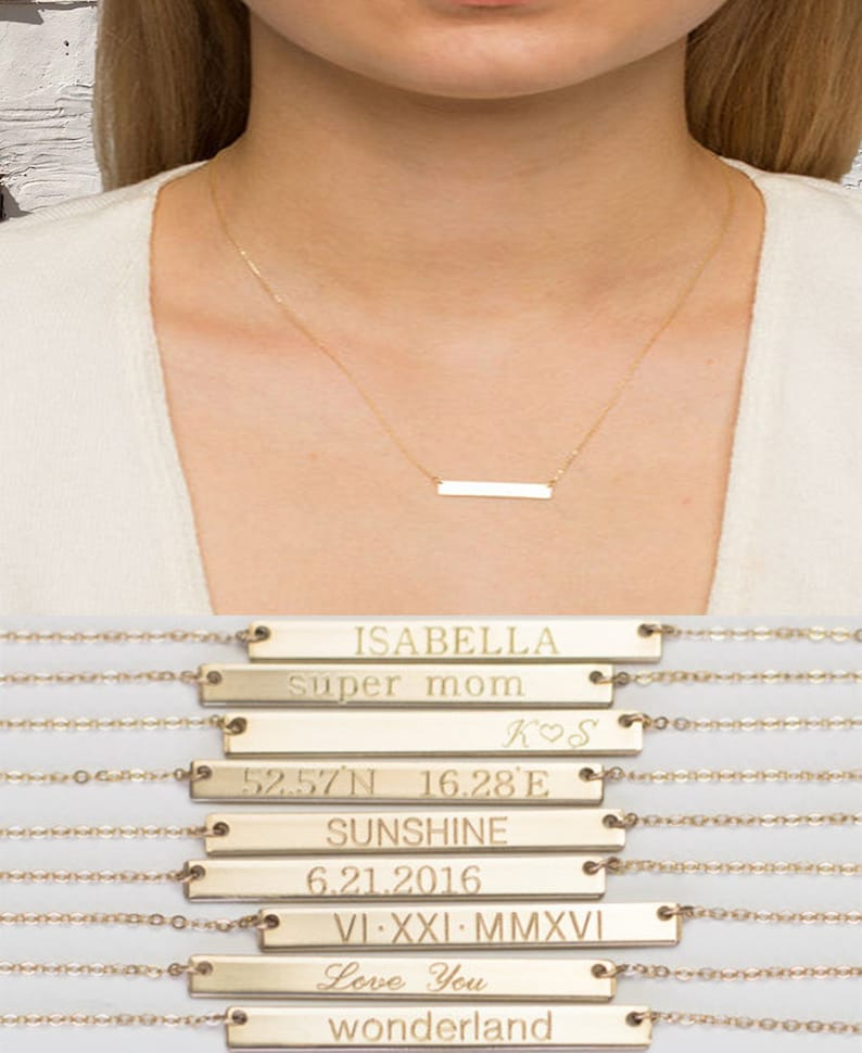 Gold Bar Necklace 14K 14k Gold Bar Necklace Engraved Name Initial mothers day gift Gold bar Gold Name Bar Necklace gold bar necklace