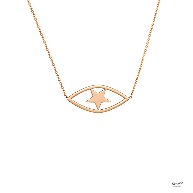 Solid Gold Evil Eye Necklace Extra Tiny Evil Eye Pendant Charm Rose Gold 14k solid Gold Gift for Her Bridal necklace minimal necklace