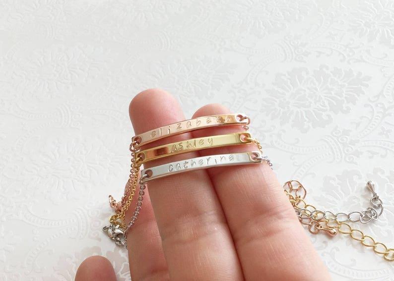 Custom Hand made Engraved Dainty Personalized Coordinate Bracelet Latitude Longitude Bracelet Bridesmaid Gift wedding gift for women