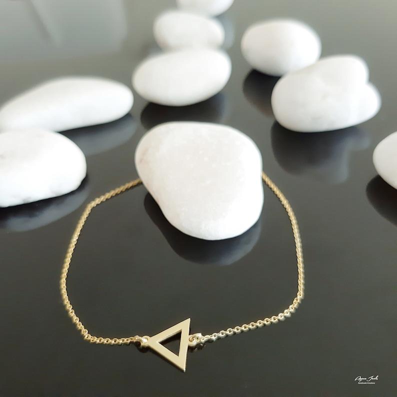 14K Gold Bracelet Geometric Bracelet Dainty Chain Bracelet 14K Solid Gold Triangle Charm Bracelet Gift For Women Triangle Jewelry